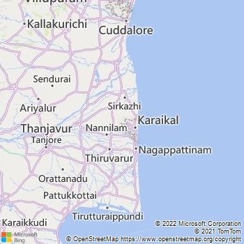 Karaikal District  Map . Surrounded by Nagapattinam District ,Thiruvarur District ,Thanjavur District , .