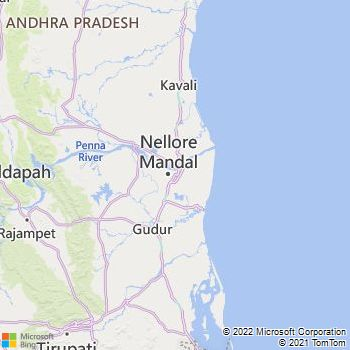 Spsr Nellore District  Map . Surrounded by Cuddapah District ,Prakasam District ,Thiruvallur District , .