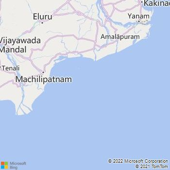 Krishna District  Map . Surrounded by West Godavari District ,Guntur District ,Prakasam District , .