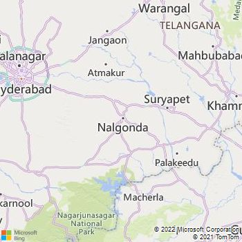 Nalgonda District  Map . Surrounded by Hyderabad District ,Khammam District ,Warangal District , .