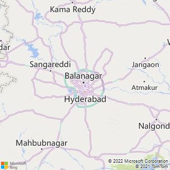Hyderabad District  Map . Surrounded by Rangareddi District ,Medak District ,Mahbubnagar District , .