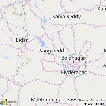 Medak District  Map . Surrounded by Rangareddi District ,Hyderabad District ,Bidar District , .