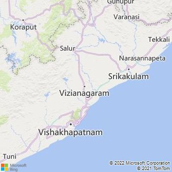 Vizianagaram District  Map . Surrounded by Visakhapatanam District ,Srikakulam District ,Koraput District , .