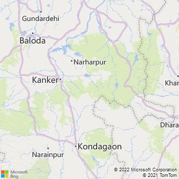 Dhamtari District  Map . Surrounded by Kanker District ,Durg District ,Raipur District , .
