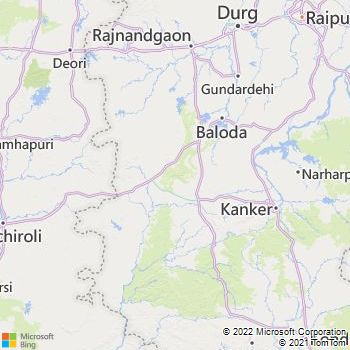 Kanker District  Map . Surrounded by Dhamtari District ,Narayanpur District ,Rajnandgaon District , .