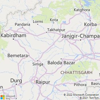 Raipur District  Map . Surrounded by Durg District ,Mahasamund District ,Dhamtari District , .