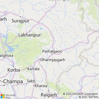 Raigarh District  Map . Surrounded by Janjgir-Champa District ,Jharsuguda District ,Bargarh District , .
