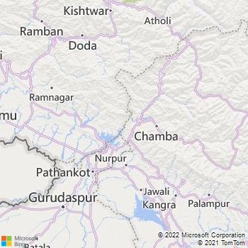 Kathua District  Map . Surrounded by Gurdaspur District ,Samba District ,Chamba District , .