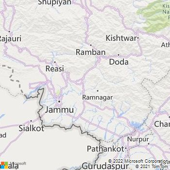 Jammu District  Map . Surrounded by Samba District ,Udhampur District ,Reasi District , .