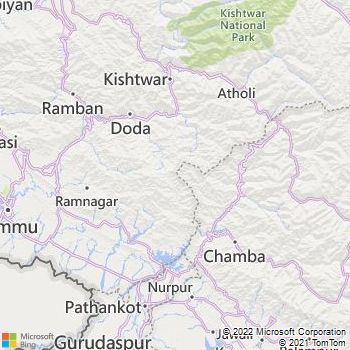 Udhampur District  Map . Surrounded by Jammu District ,Ramban District ,Samba District , .