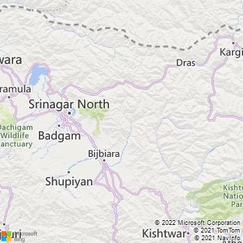Pulwama District  Map . Surrounded by Shopian District ,Badgam District ,Srinagar District , .