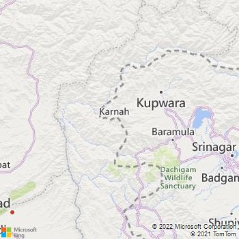 Kupwara District  Map . Surrounded by Baramulla District ,Bandipora District ,Ganderbal District , .