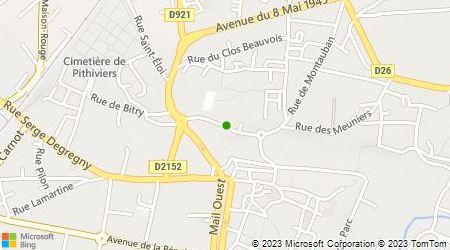 Plan d'accès au taxi Abeilles Ambulances Pithiviers