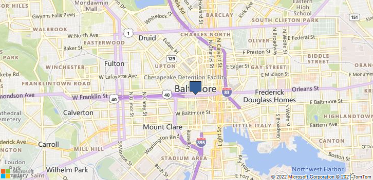Baltimore, MD, 21201 Map
