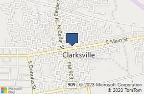 Bing Map of 103a N Locust St Clarksville, TX 75426