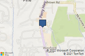Bing Map of 10850 Perry Hwy Ste 200 Wexford, PA 15090