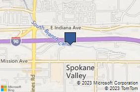 Bing Map of 12720 E Nora Ave Ste H Spokane Valley, WA 99216