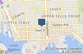 Bing Map of 1609 Eastern Ave Baltimore, MD 21231