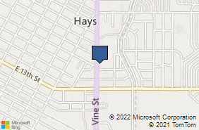 Bing Map of 1706 Vine St Hays, KS 67601