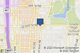 Bing Map of 181 10th St Ne Ste 104 Atlanta, GA 30309