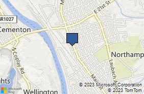 Bing Map of 1828 Main St Northampton, PA 18067
