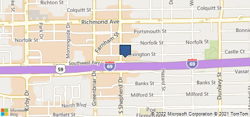 Bing Map of 2020 Southwest Fwy Ste 205 Houston, TX 77098