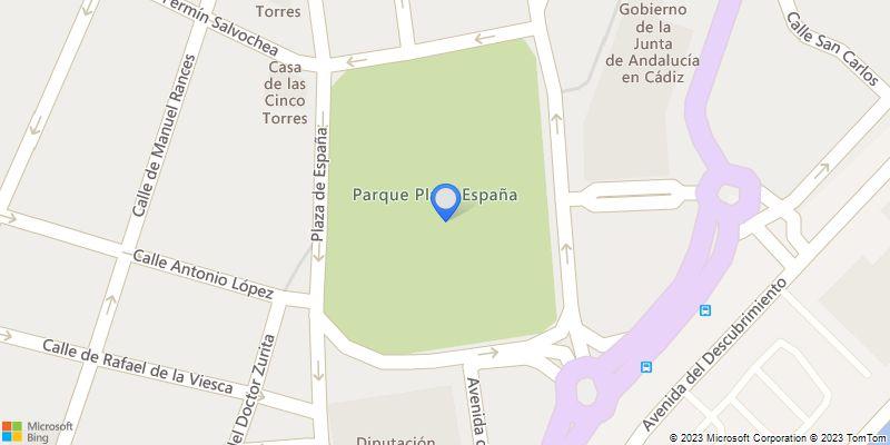 Plaza de España, en la ciudad de Cádiz