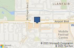 Bing Map of 3929 Airport Blvd Ste 1-110 Mobile, AL 36609
