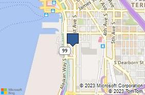 Bing Map of 505 1st Ave S Ste 130 Seattle, WA 98104