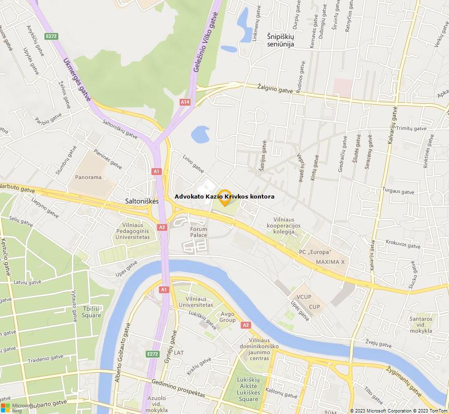 Bing Map of 54.69864509855424,25.269039448162857