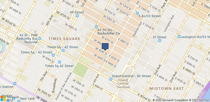 7 West 45th St. New York, NY, 10036 Map