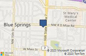 Bing Map of 707 N 7 Hwy Blue Springs, MO 64014