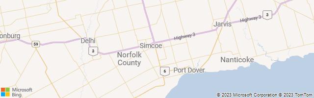 Simcoe, Ontario, Canada Map