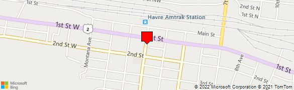 Bank location centered on map